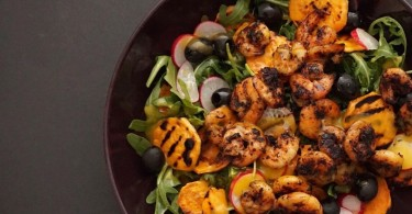 Jerk Prawns & Grilled Sweet Potato Salad